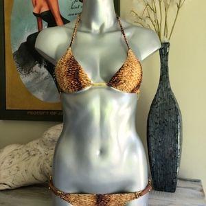 Vix Bikini Gold Snakeprint, Lthr. Trim,S
